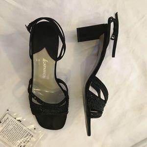 sequined black heels
